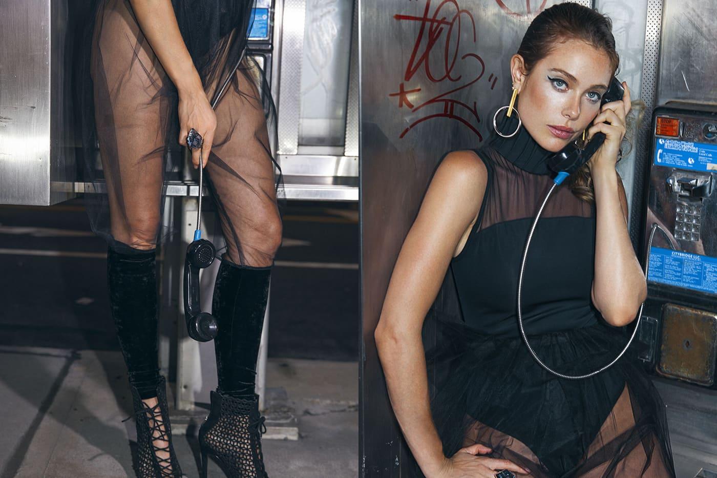 Bodysuit and transparent pants, Monzlapur. Earrings, Noa Jewelry. Heels, Paula Torres.