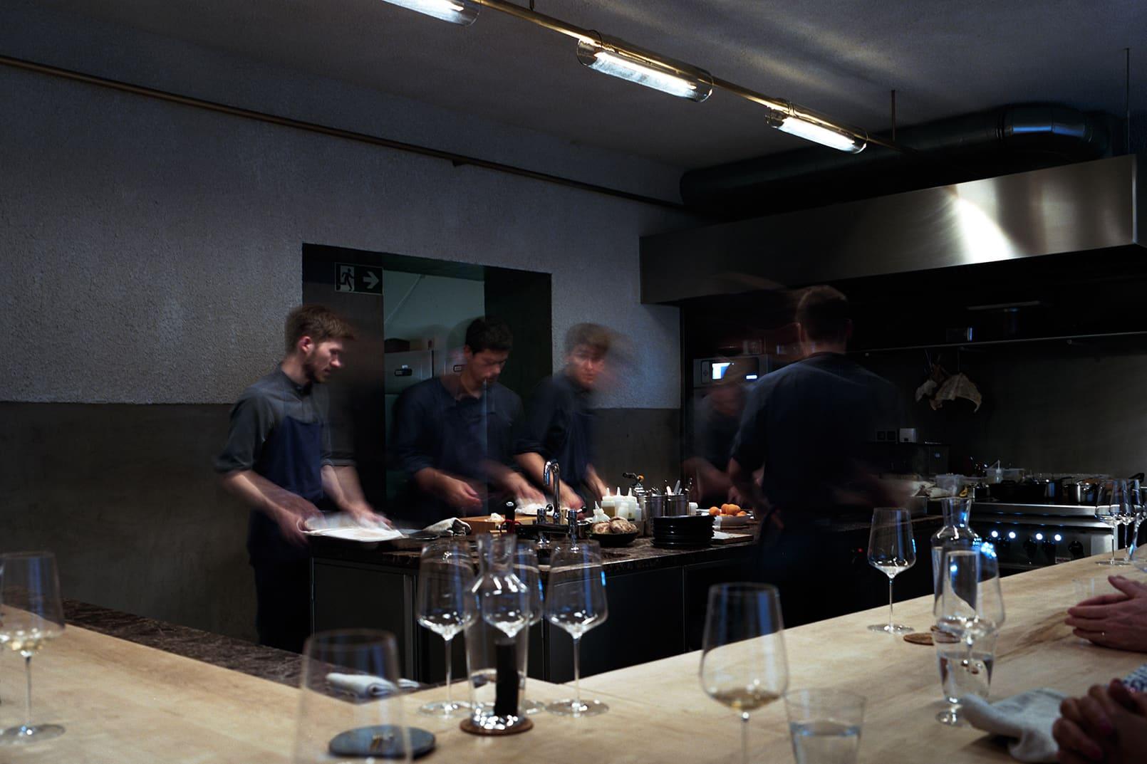 The restaurant is an open bar kitchen. Photo credit: Maidje Meergans