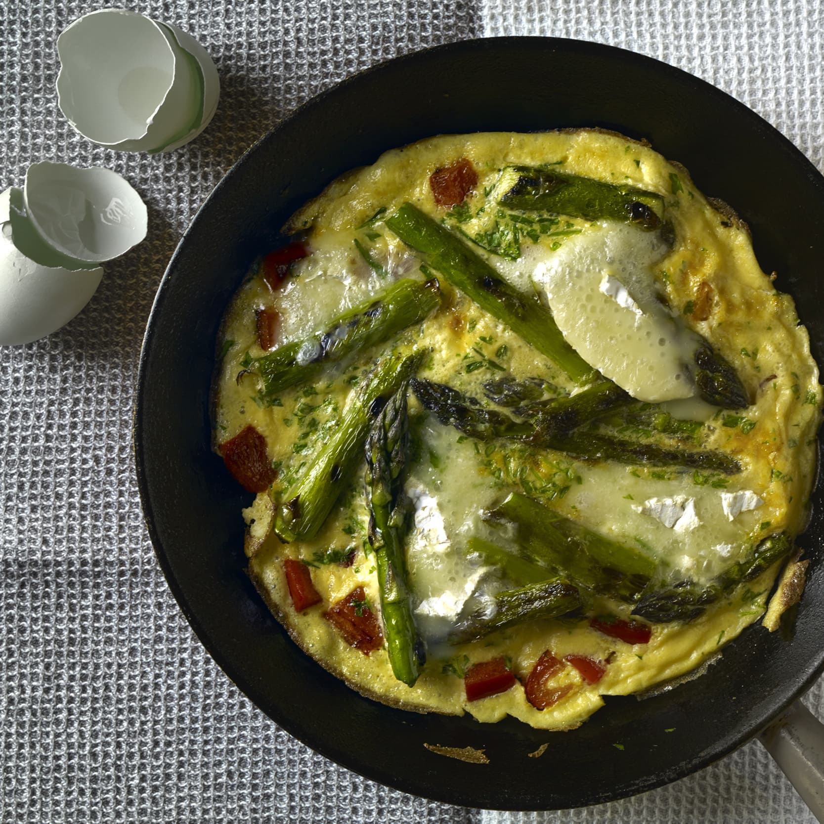 New season Asparagus and Brie omelette
