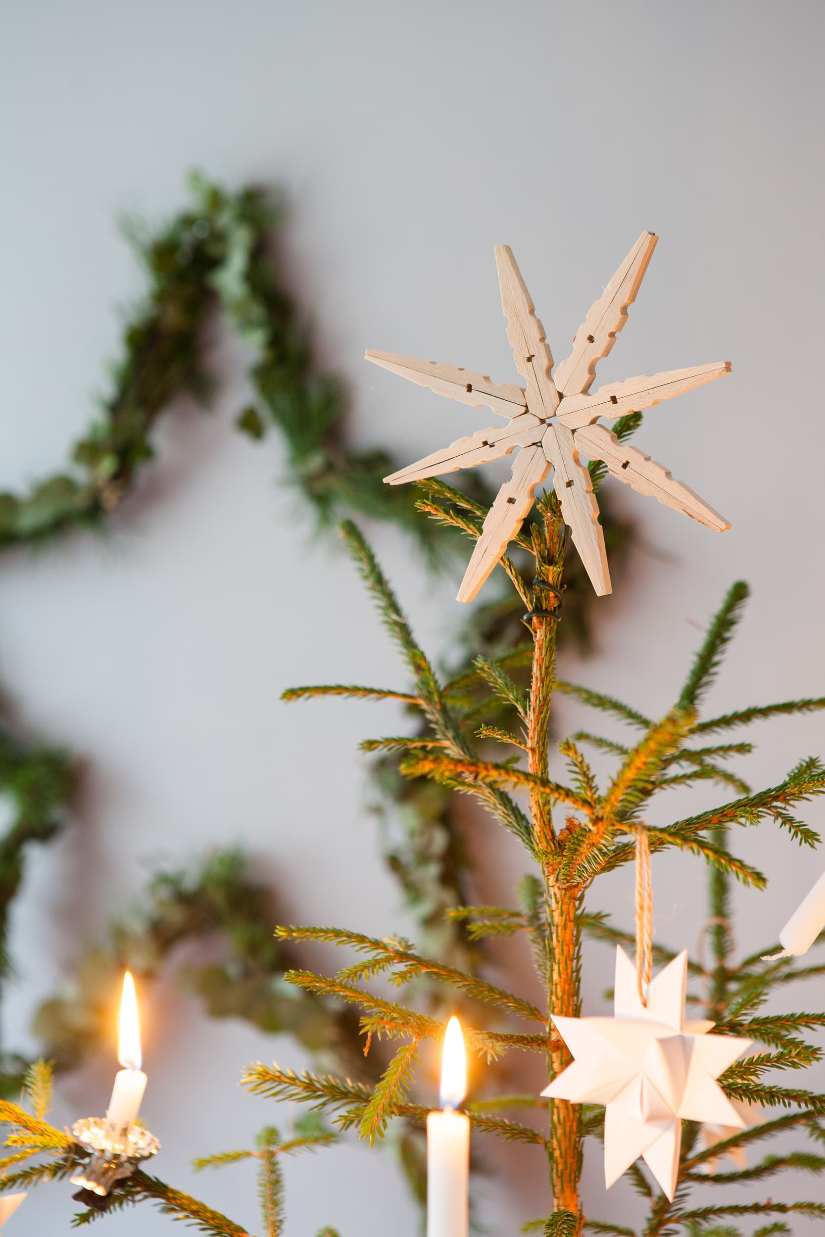 Träig snöflinga och grön julstjärna.