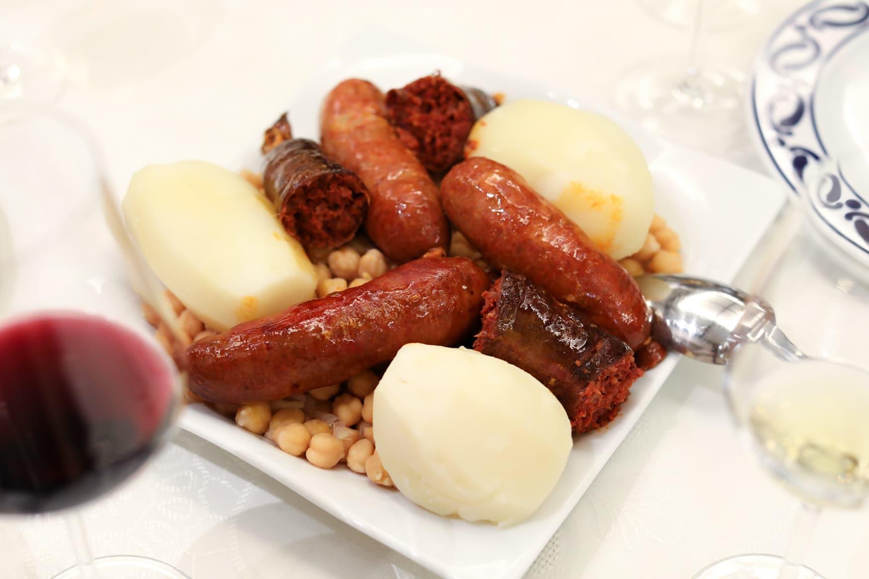 Potatoes, chorizo and chickpeas.