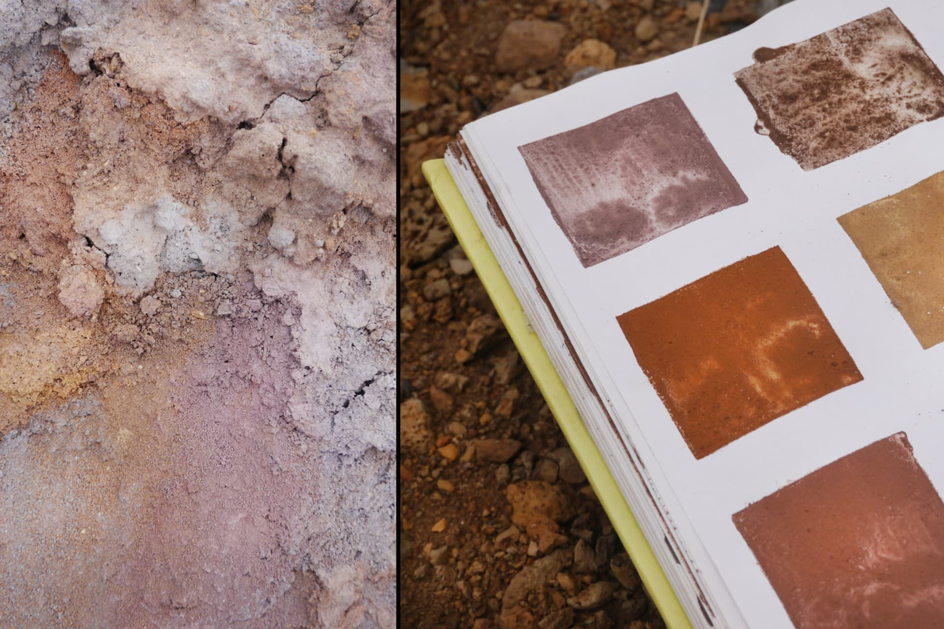 Detail of Elin's notebook, with some tests from pigments collected in Easter Island.