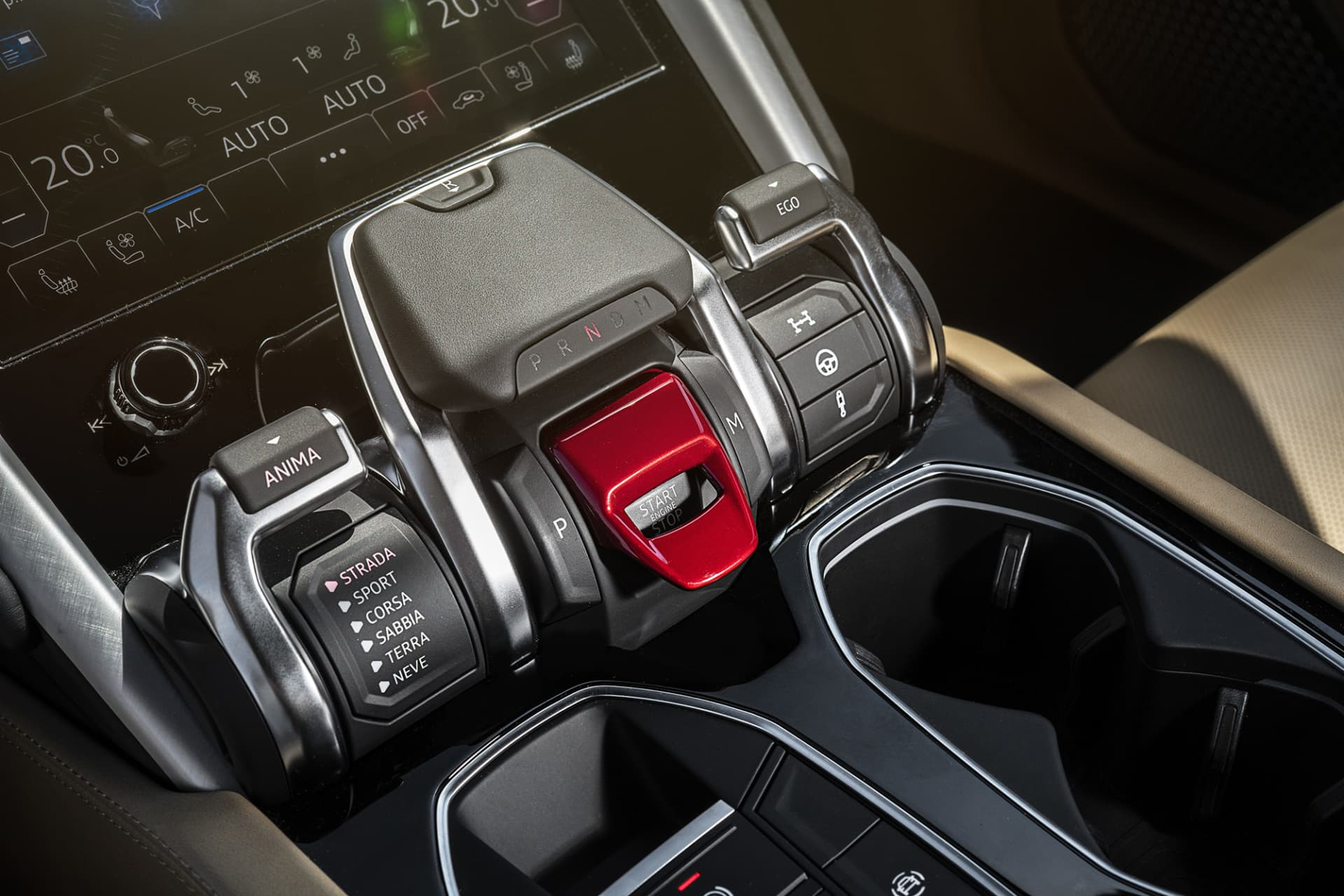 The slider that also contains the start button and the gear selector is called Anima, here you control most settings for how Urus should behave on or off the road.