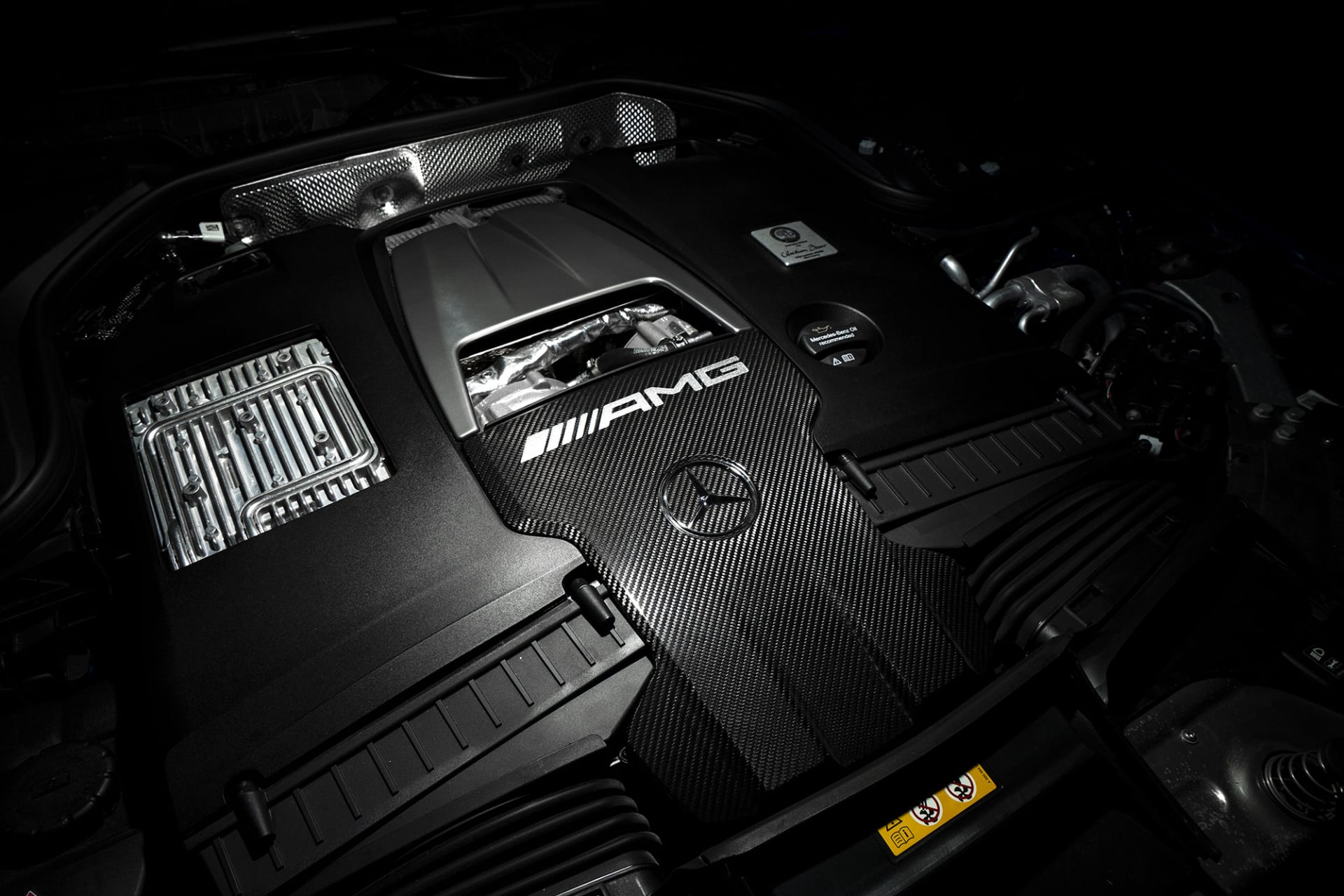 The heart of the AMG GT63s is the powerful sounding 4-liter turbocharged V8 engine of 639 horsepower. Naturally, complete with the plaque from the AMG engineer who built it.