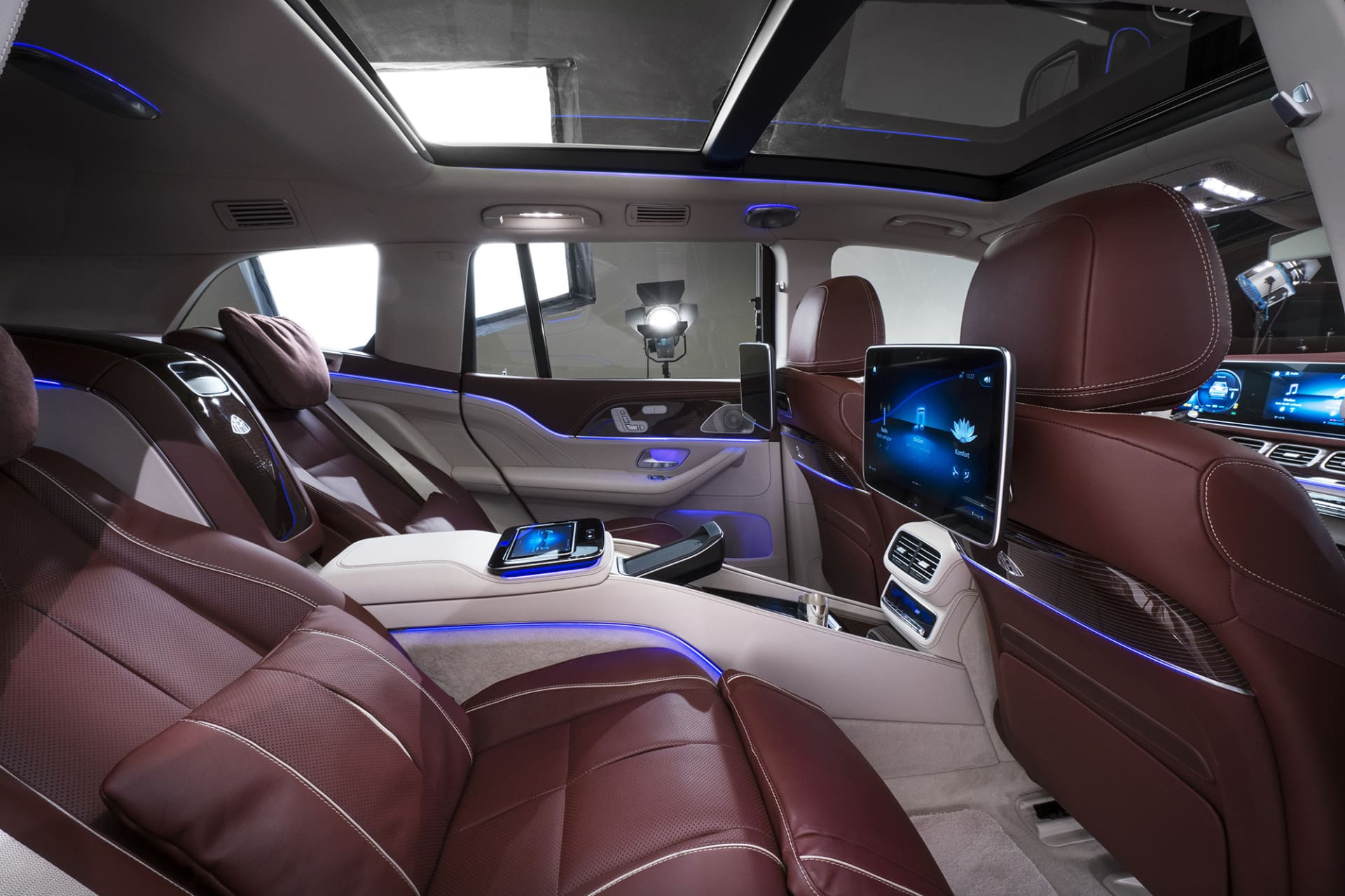 The rear seat of the Maybach GLS can be rather be taken for a private jet than a car.