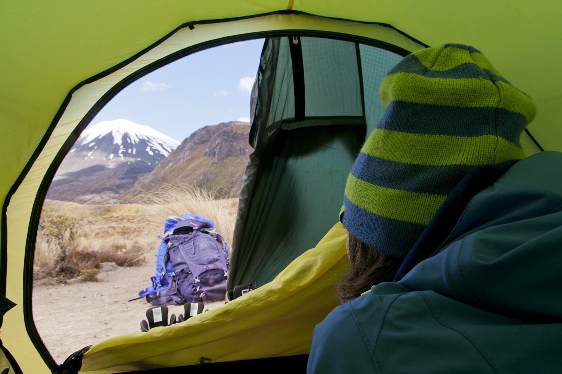 Front seat view of Mount Ngauruhoe from the tent.