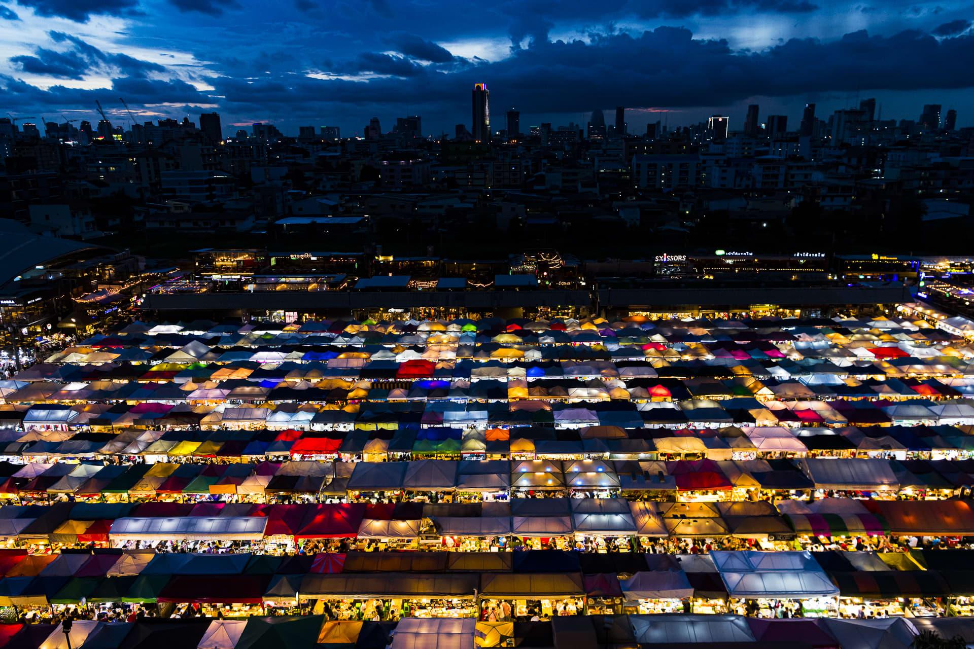 The Rot Fai Train Market in Bangkok.