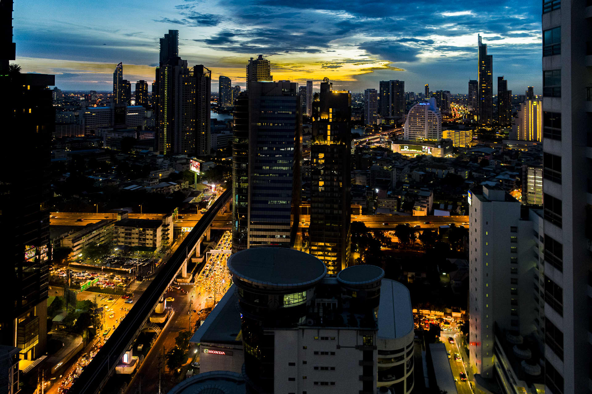 The sunset over bustling Bangkok.