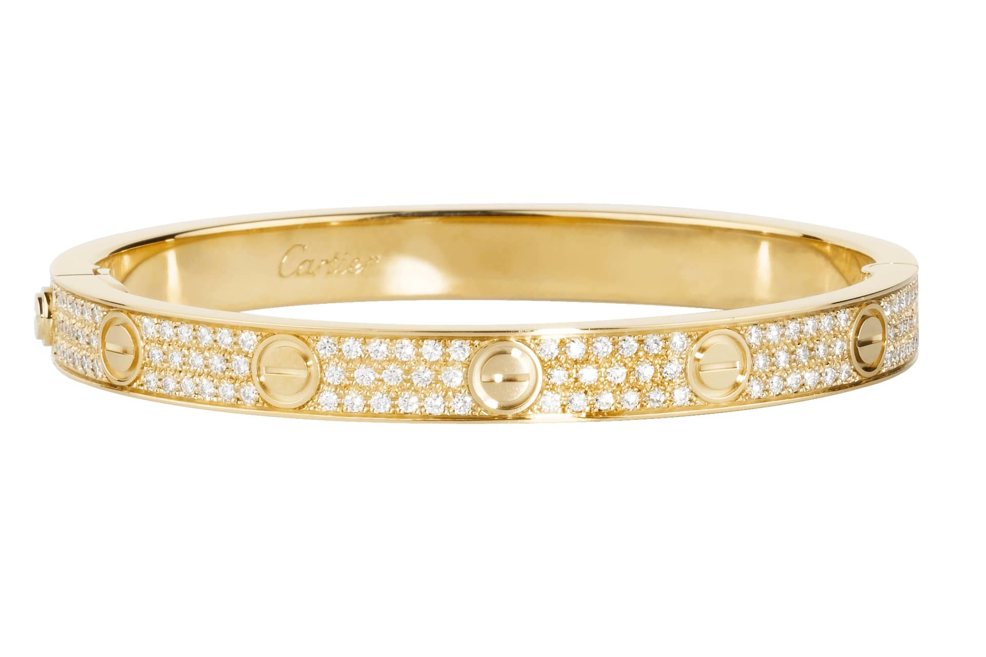 Love Bracelet i guld med diamanter. © Cartier