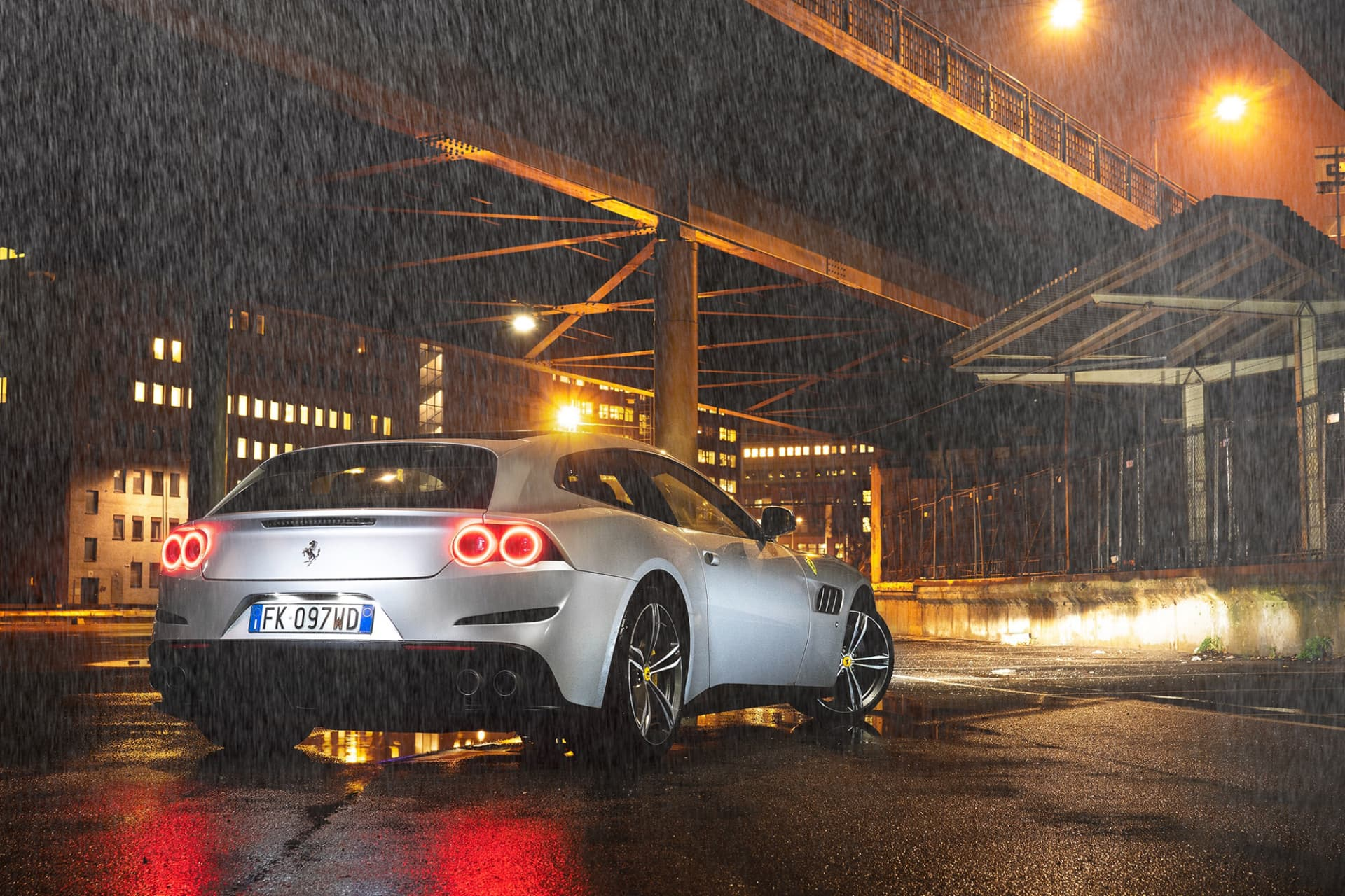 A Stockholm rain shower in barely-above-zero weather does not affect Ferrari's year-round car, the GTC4 Lusso.