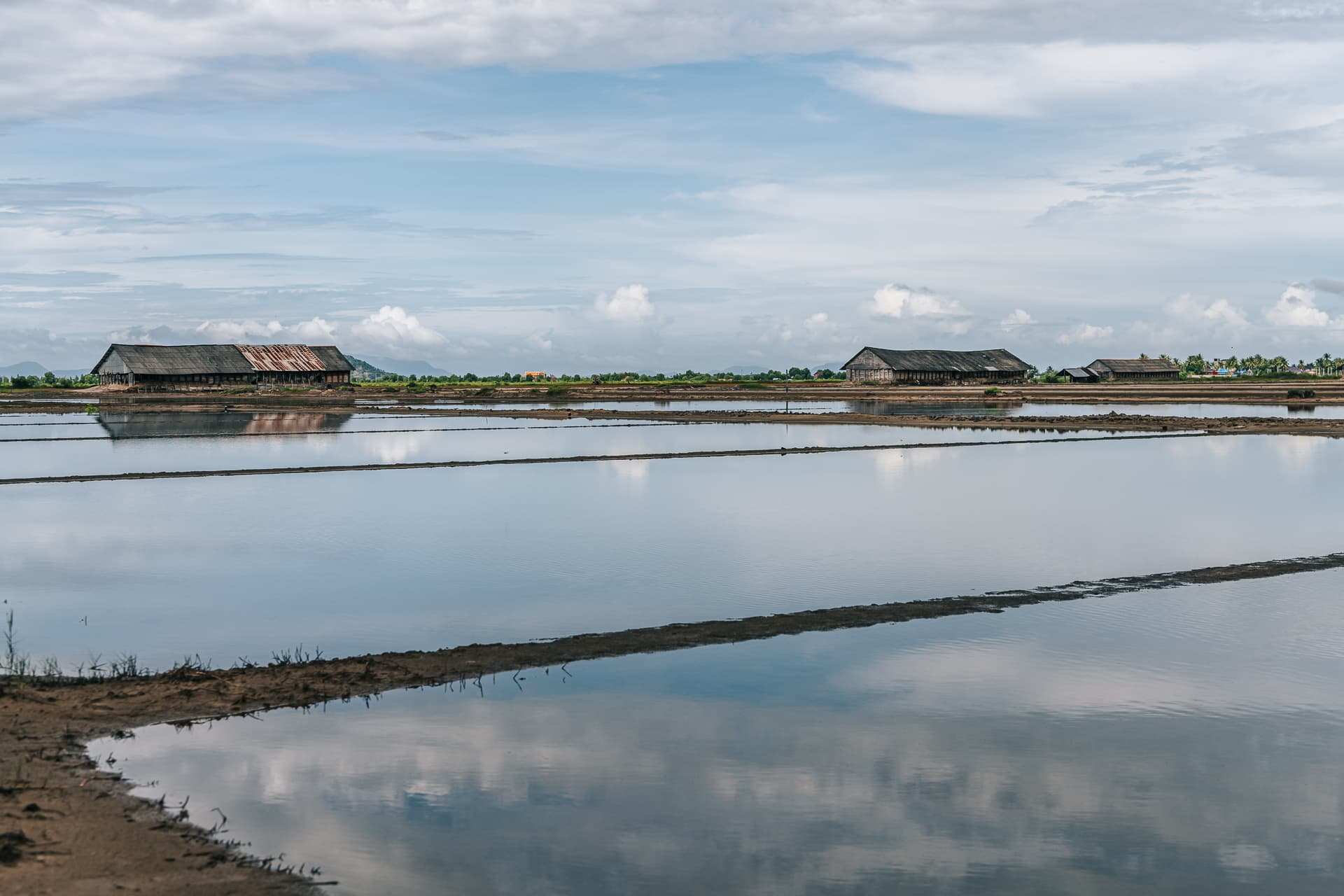 The beautiful and calm salt fields of Kampot.