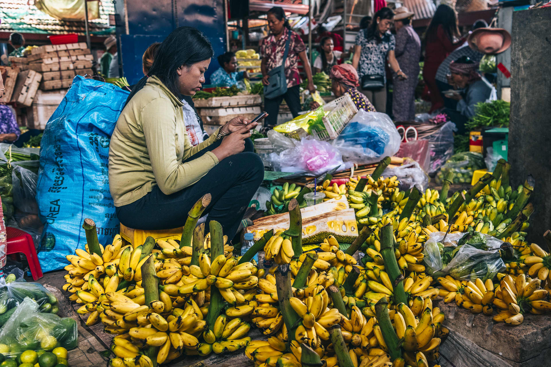 A woman on her phone while selling bananas at the Kampot market.