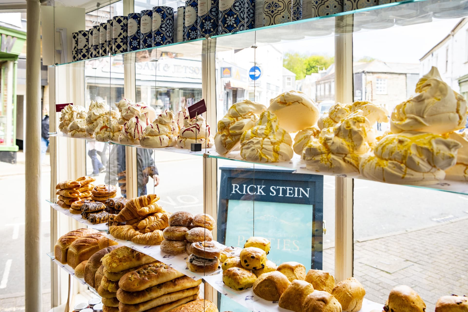 Rick Stein Patisserie in Padstow, loaded to the brim with freshly baked pastries, cakes and cornish pies.