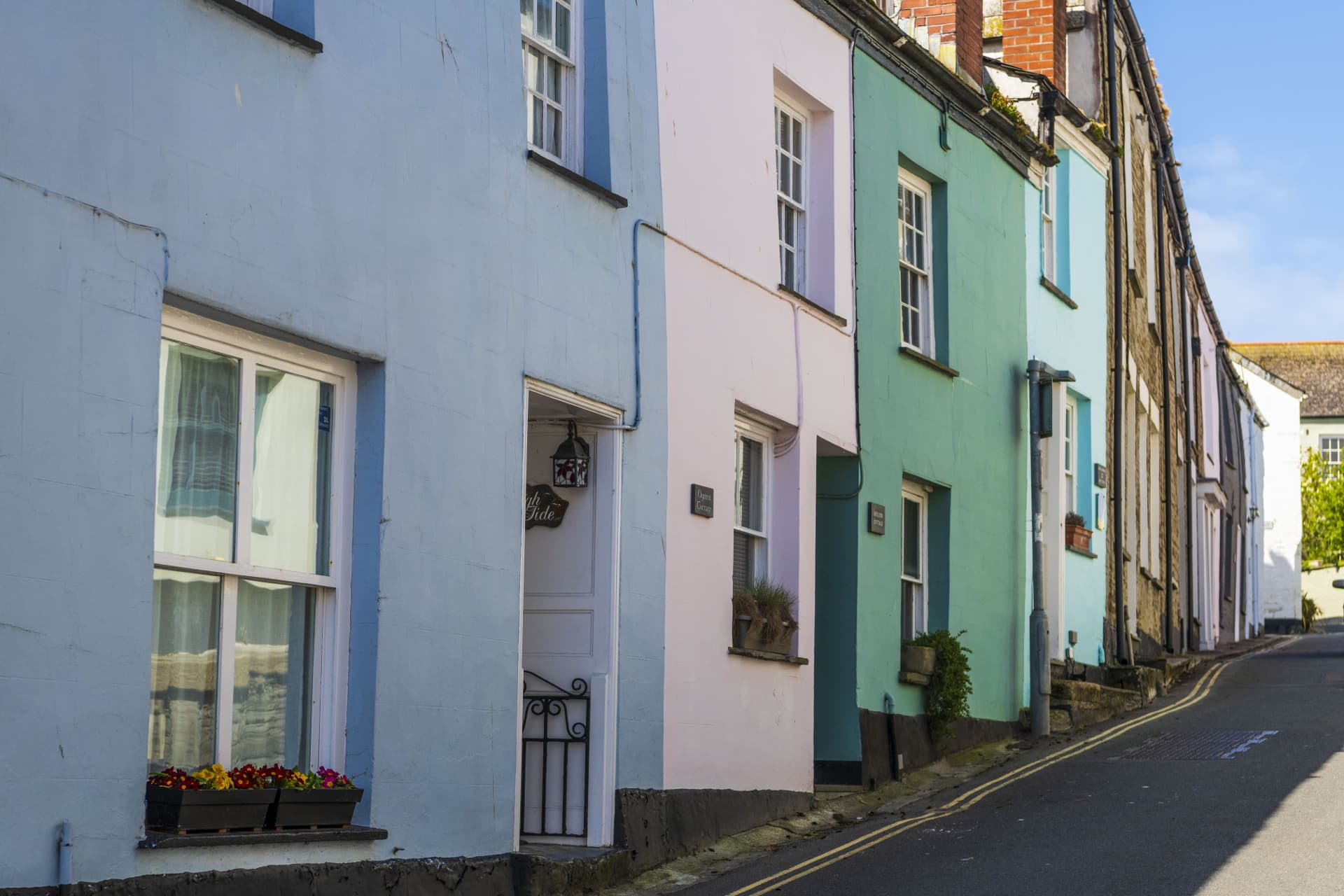 Colorfully painted houses in Padstow, Cornwall.