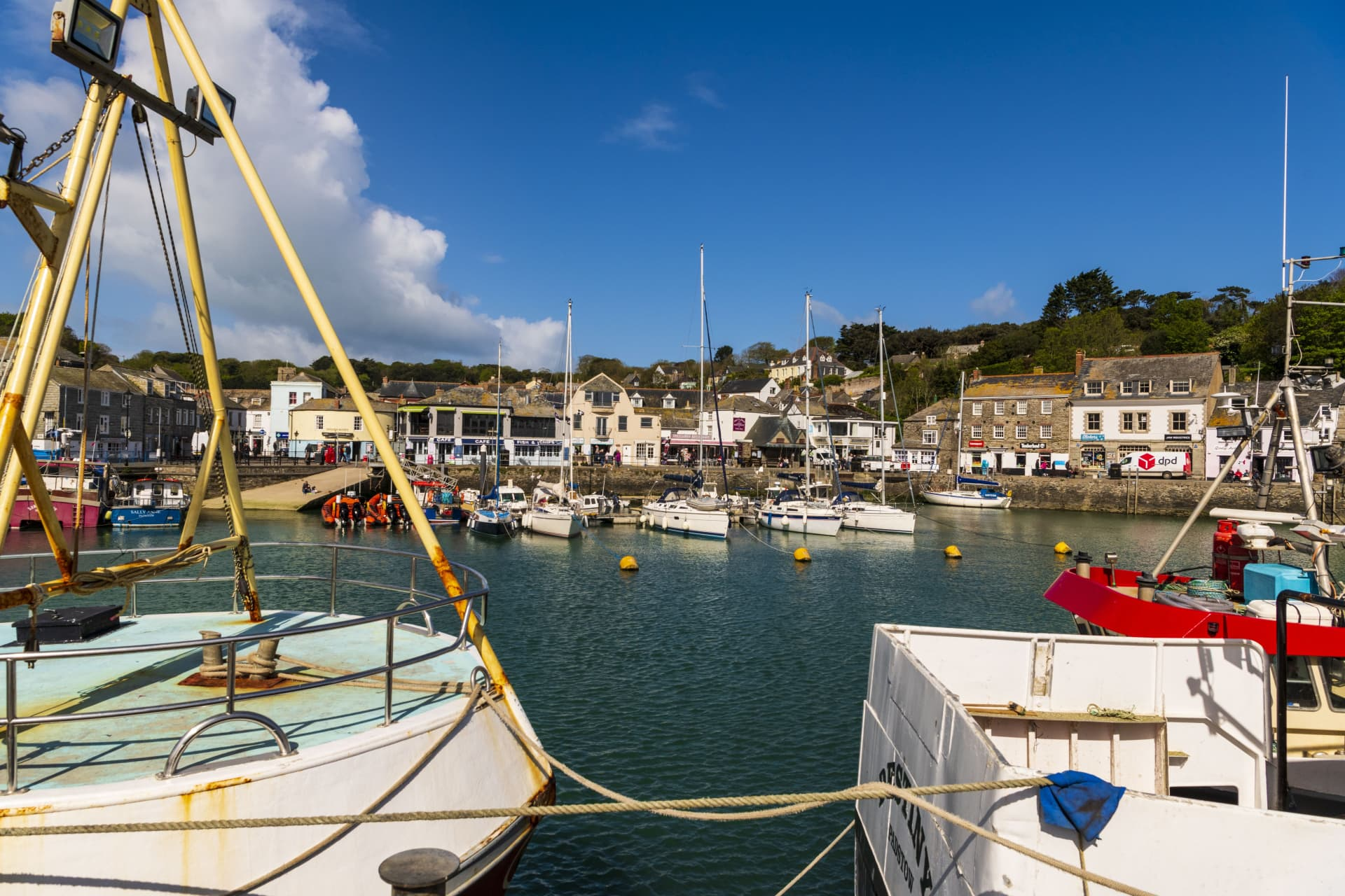 A view of the Padstow Harbour, a working fishing port in Cornwall and famous foodie destination.
