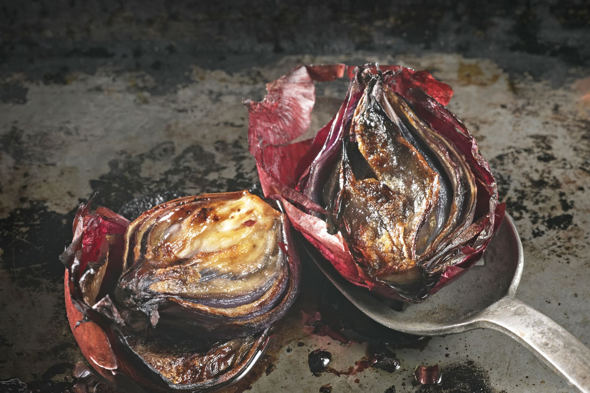 Sweet and savoury whole Roast Red Onions