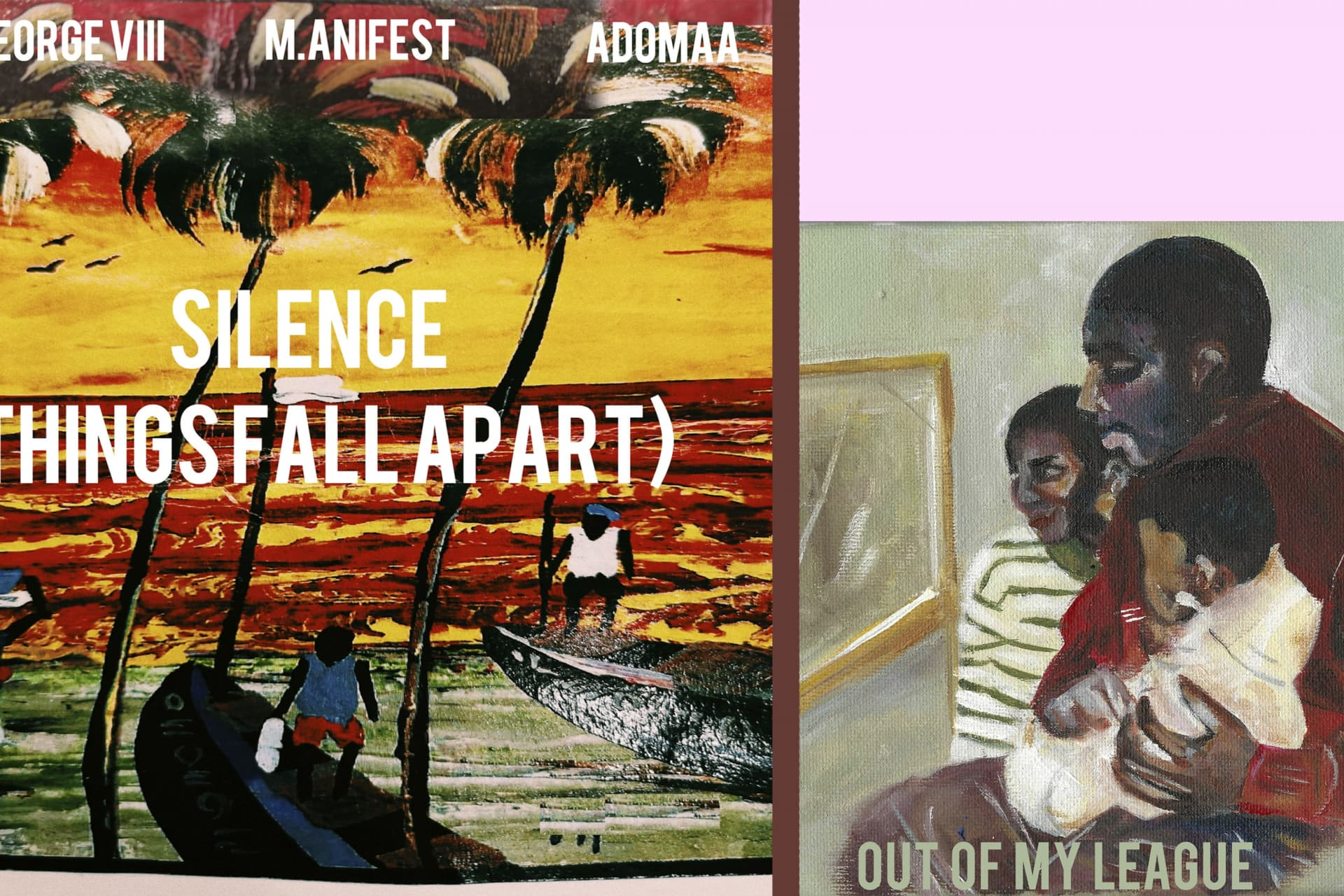 "Covers for Silence"" and ""Out of my League"", the latest two singles of King George VIII, with artwork by Aala Sharfi."
