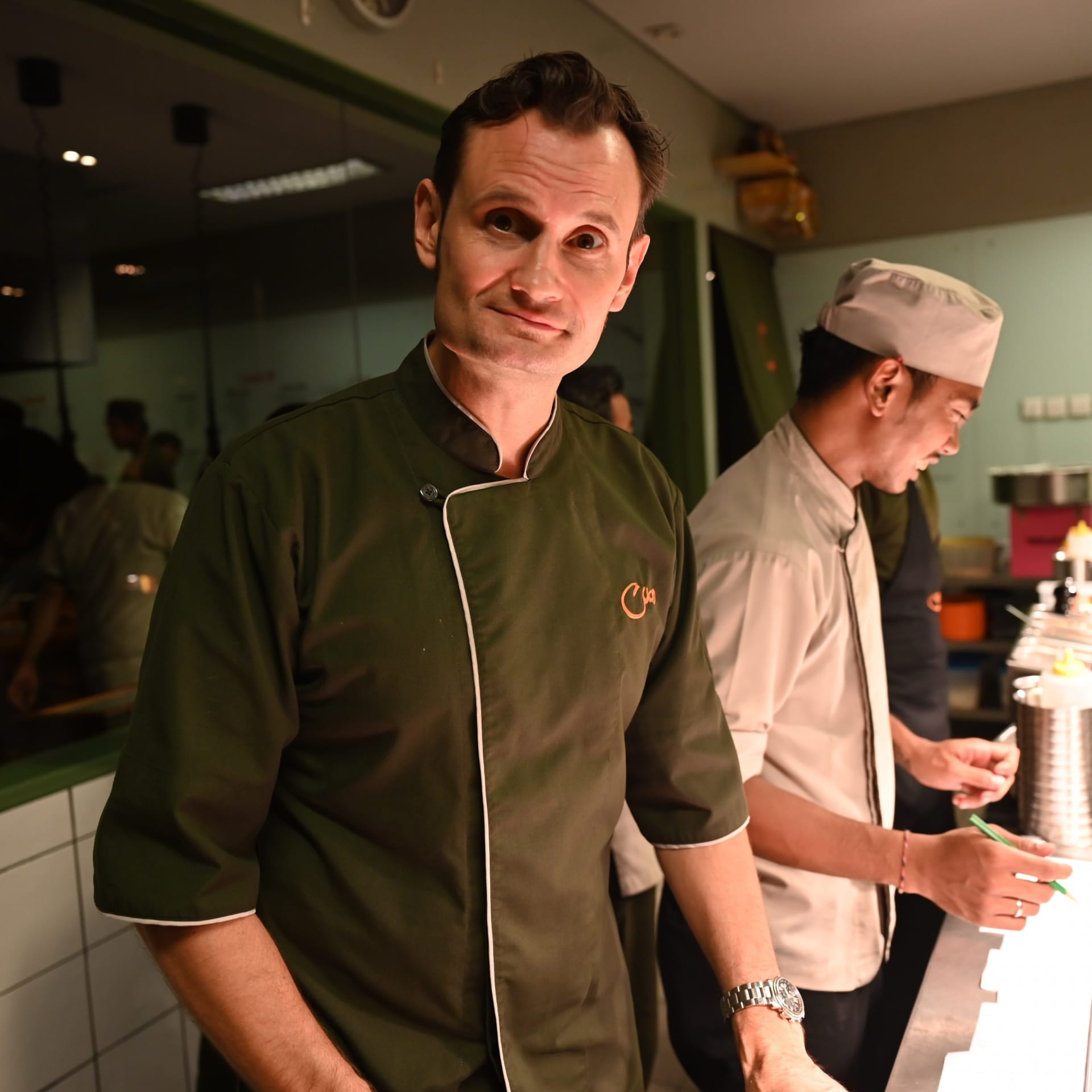 Kevin in the kitchen at restaurant Cuca