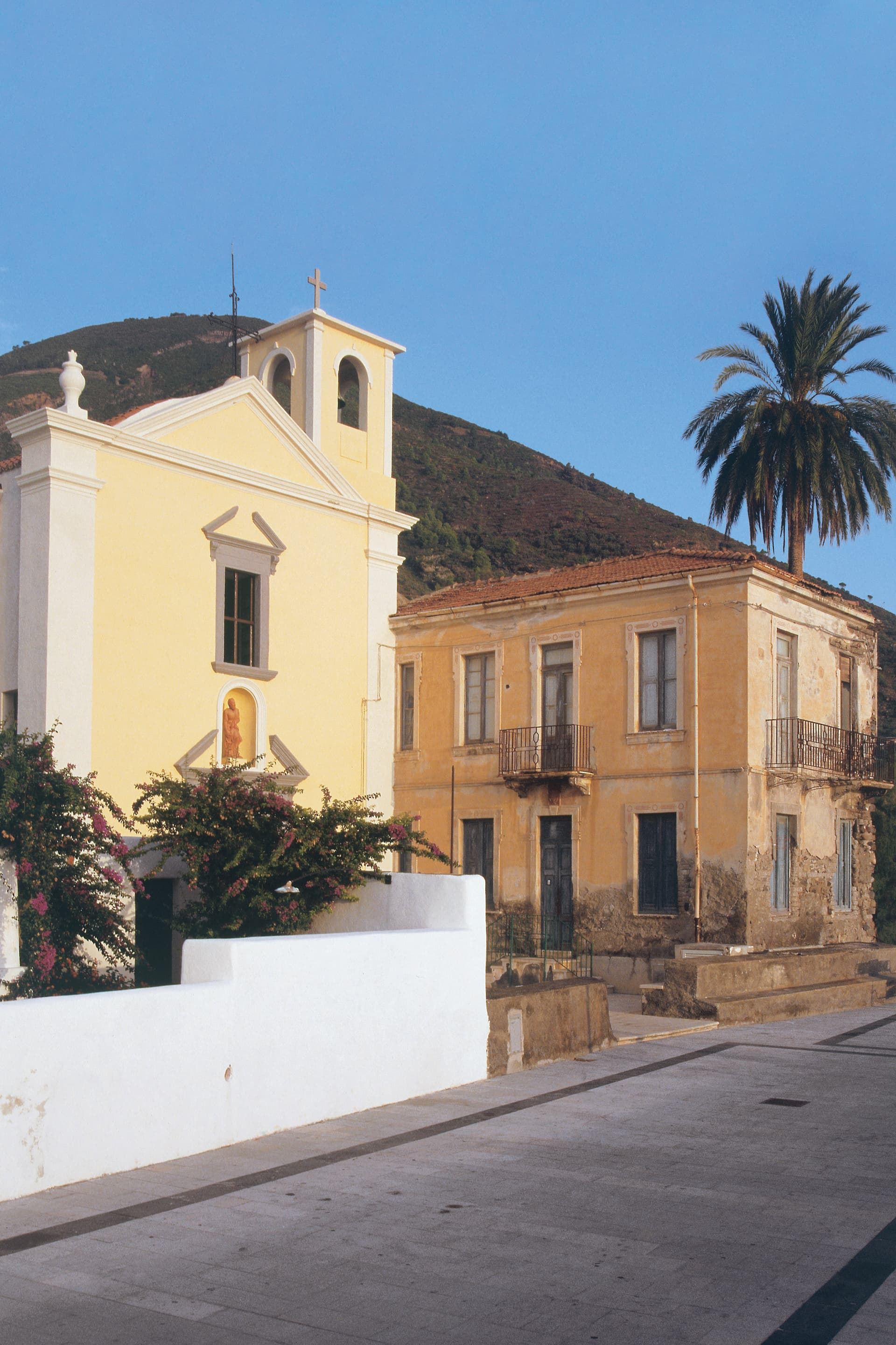 The small church of San Bartolo, protector of the Aeolians Islands, overlooking the sea in Lingua.