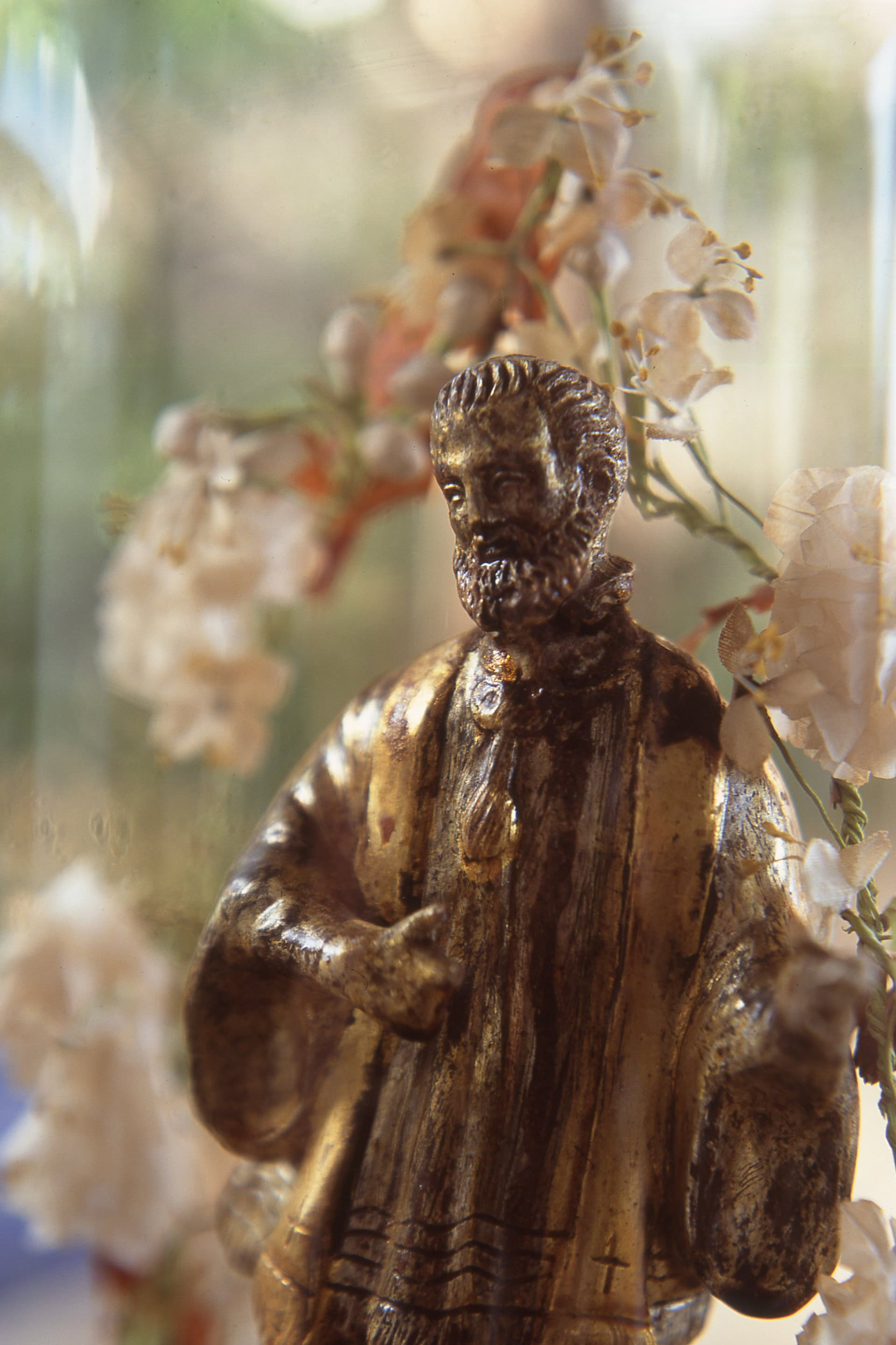 The statue of Sant'Antimo collected with passion by Donna Clara Rametta, owner of the Hotel Signum in Malfa.