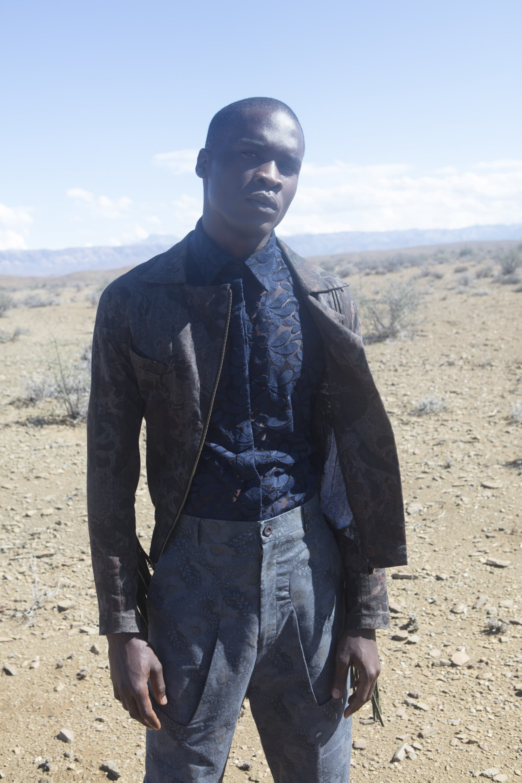 Mmuso Maxwell lace shirt. Floyd Avenue fringed paisley jacket. ALC Menswear Shweshwe pants.