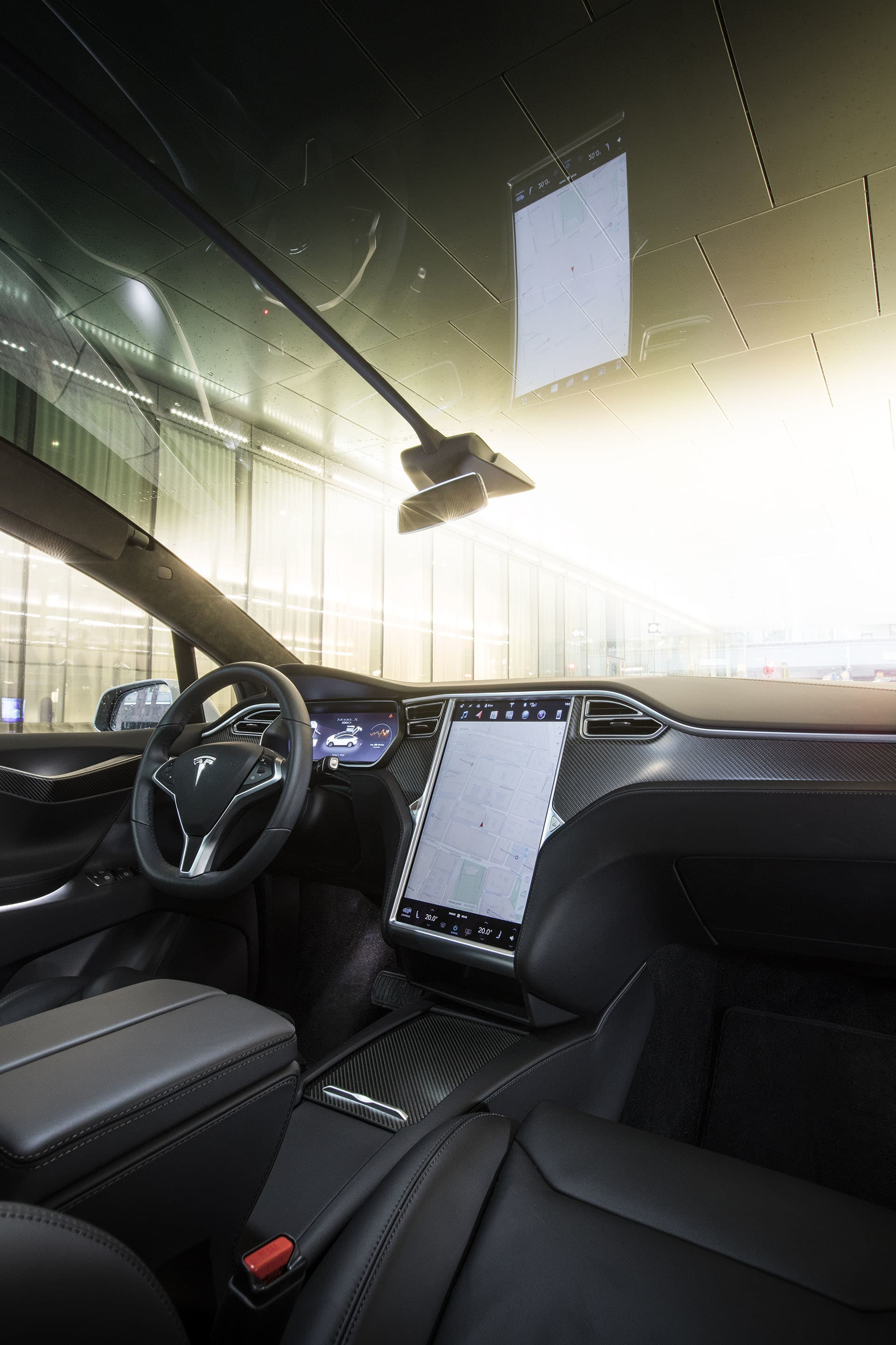 The center console has a 17-inch display that controls all functions of the car.In addition to that, there are plenty of visual buttons or controls.