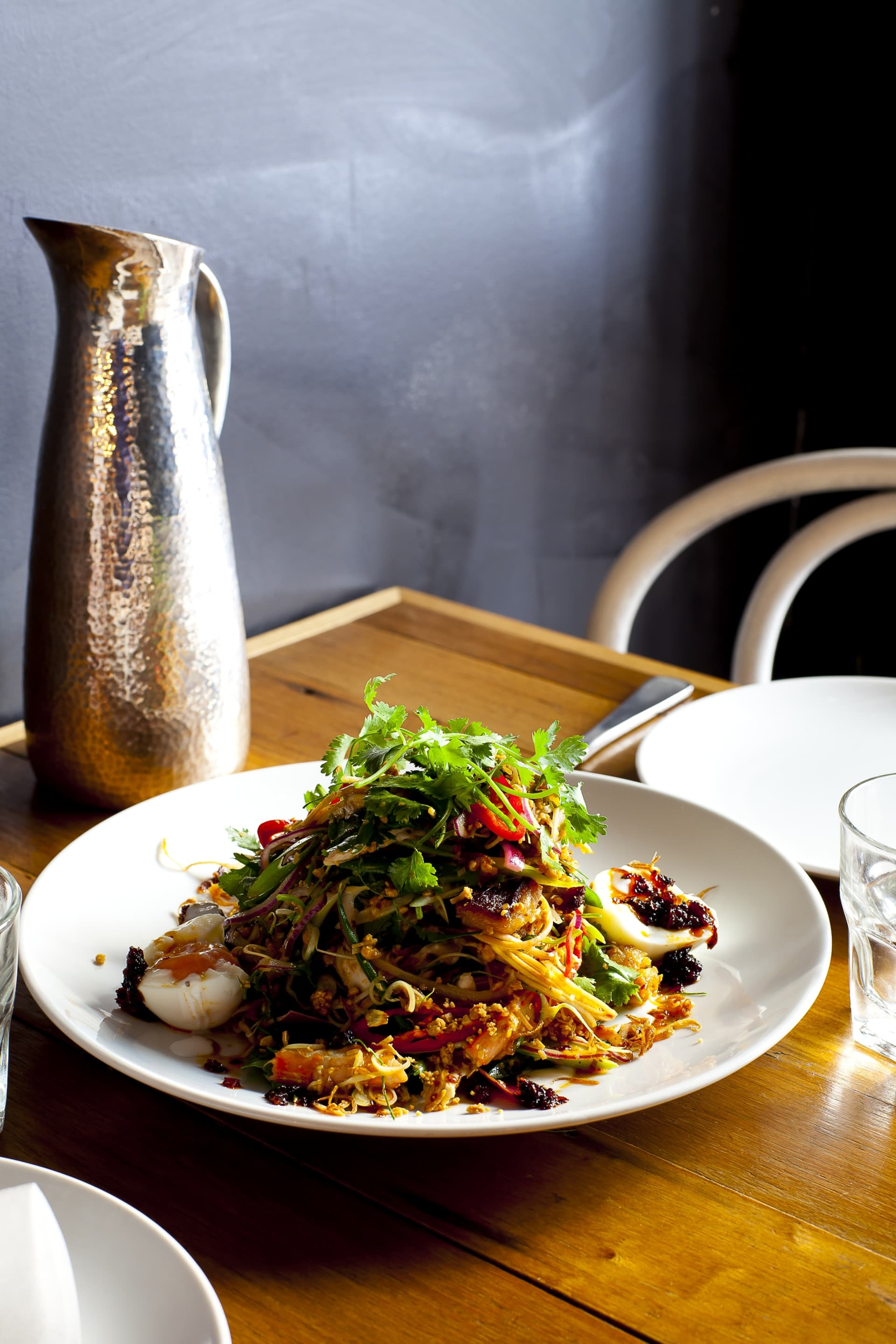 Chicken salad with chili, coconut, peanuts and crispy shallots at Peel St.