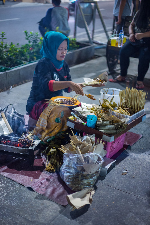 Satay vendor in the streets of Yogyakarta.