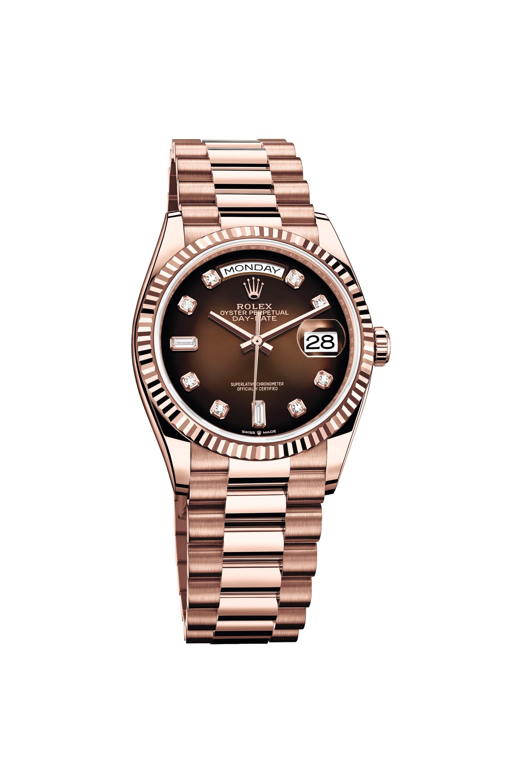 Rolex Oyster Perpetual Day-Date 36 med brun urtavla.