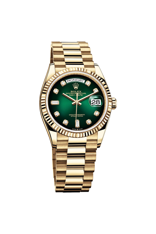 RolexOyster Perpetual Day-Date 36 med grön urtavla.