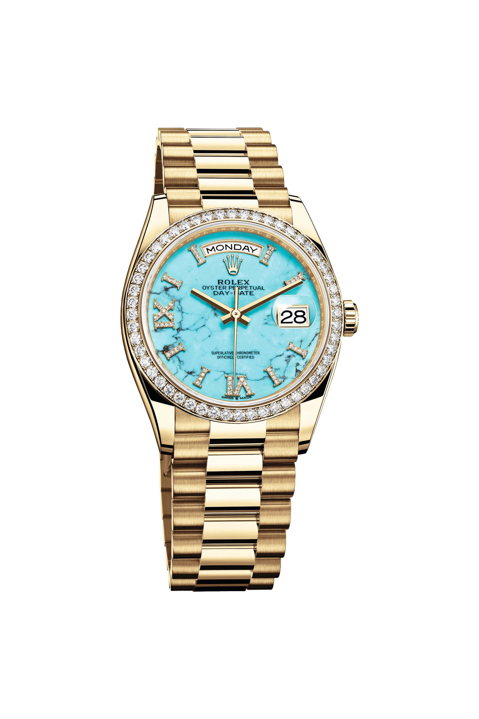 Rolex Oyster Perpetual Day-Date 36 with a turquoise dial.