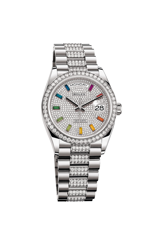 Rolex Oyster Perpetual Day-Date 36 beströdd med diamanter.