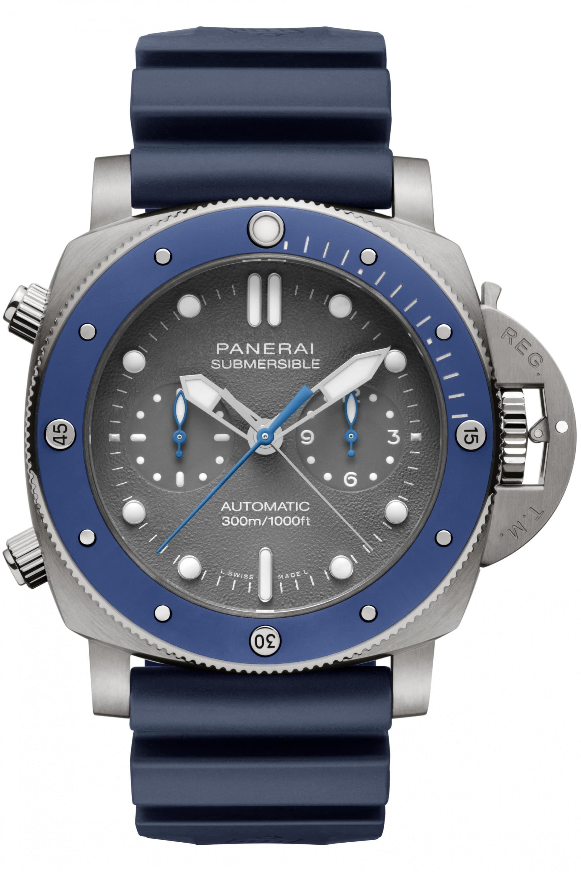 Panerai Submersible Chrono – Guillaume Néry edition,boetti titan, 47 mm som har kronograf med flybackfunktion. En dröm för dykare.