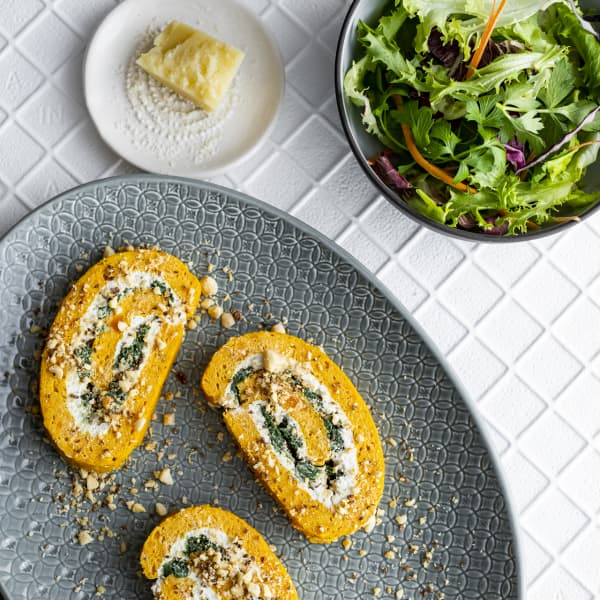 Gluten free butternut, spinach and goat's cheese roulade