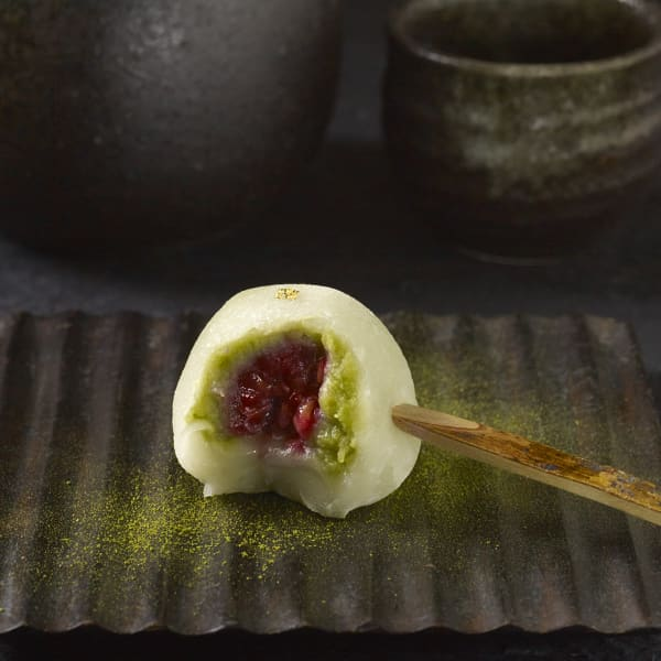 Matcha and raspberry mochi