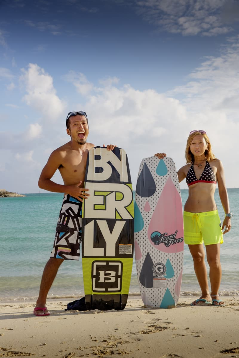 Surfers on the shore at one of the many beaches in Okinawa