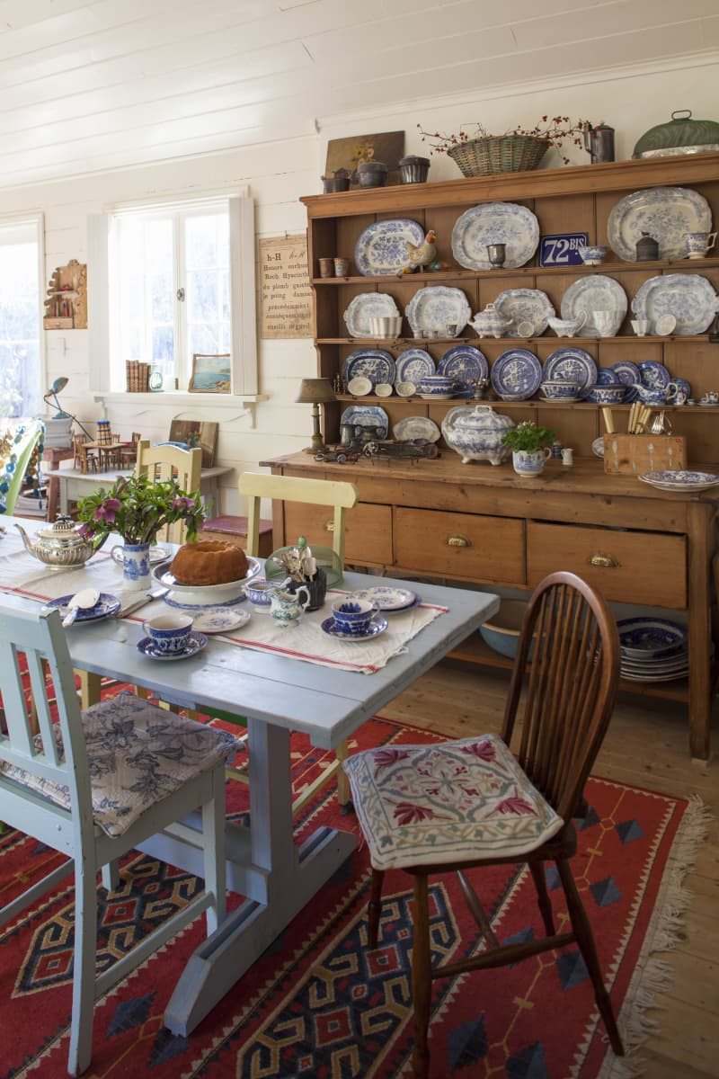 The pine dresser holds part of Glenny's blue and white china collection, all beautifully displayed.