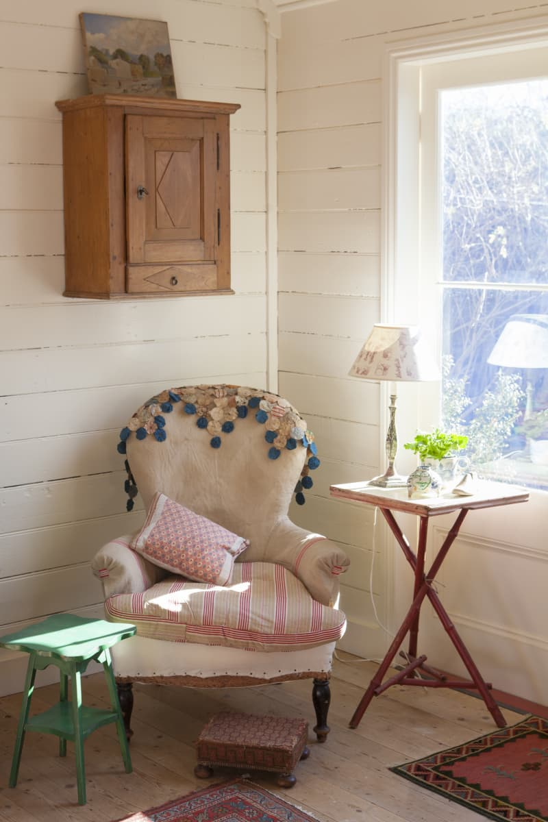 The mix of depression era furniture and antiques is perfect for the house.