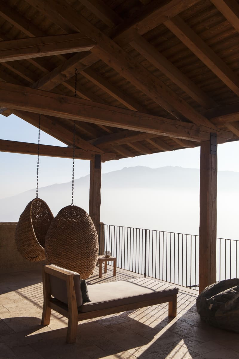 Silence terrace with view over the Mottarone mountains and Lago d'Orta.