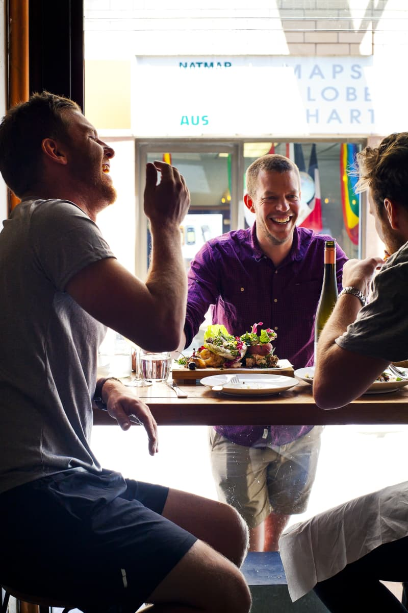 Restauranteur Ben with friends at Peel St.