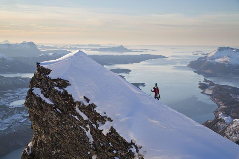 A peak in a Norwegian landscape; Johan Engebratt takes the final steps.