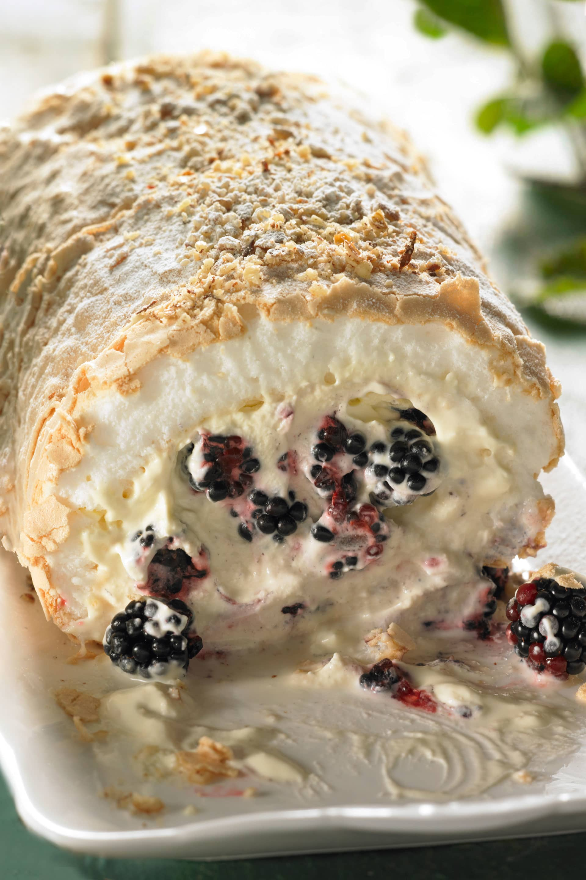 Blackberry and hazlenut roulade
