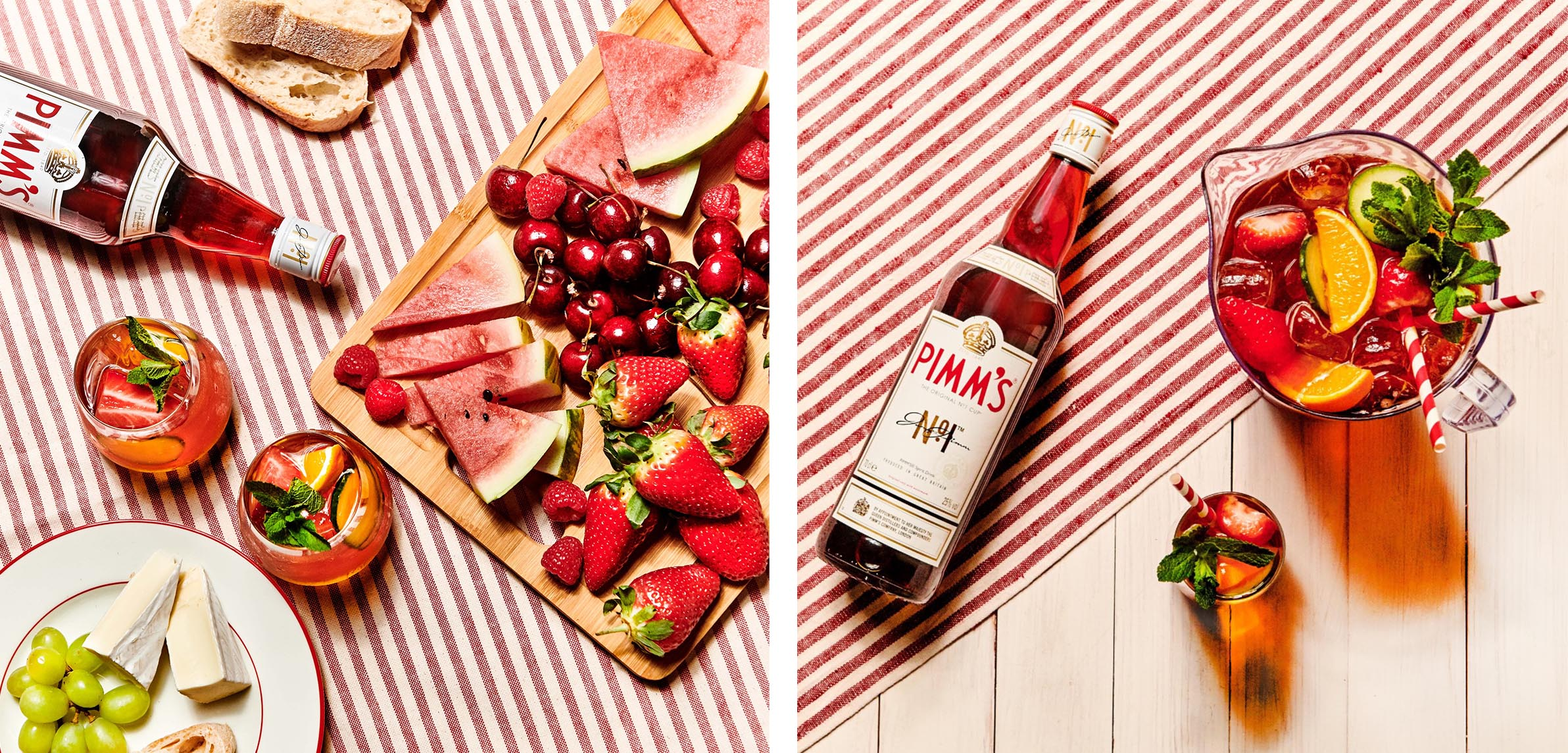 Pimm's No 1 Cup on stripy cloth