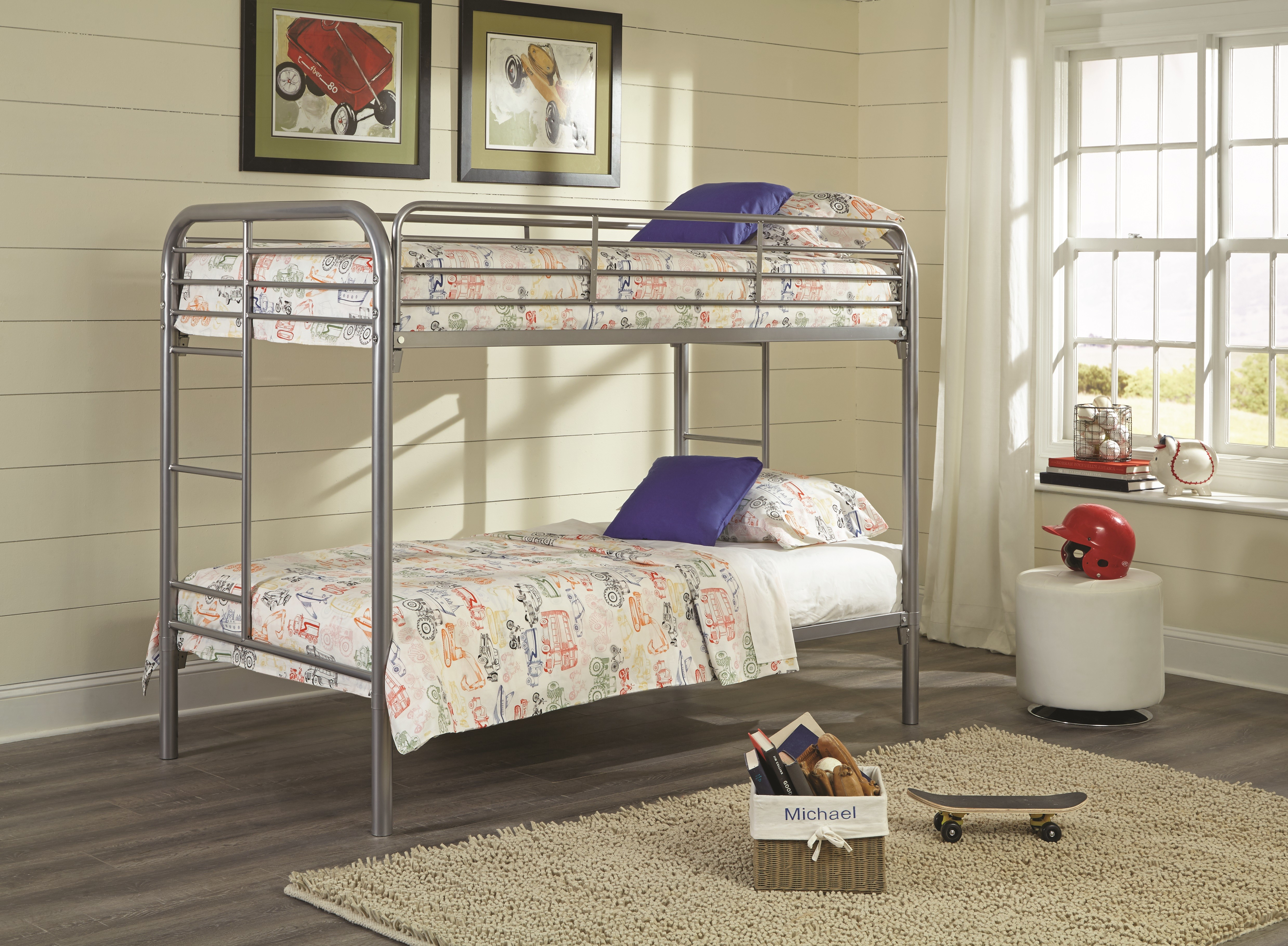 Twin Over Twin Silver Metal Bunk Bed