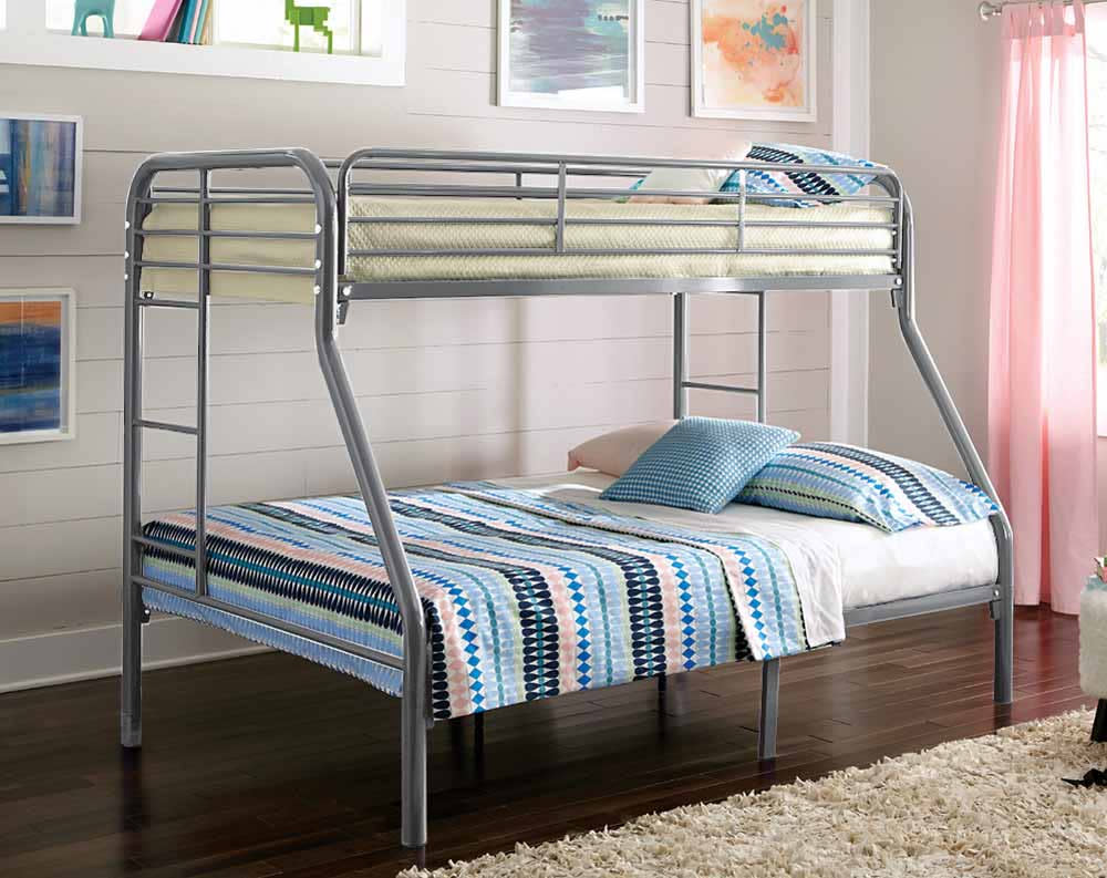 Twin Over Full Silver Metal Bunk Bed