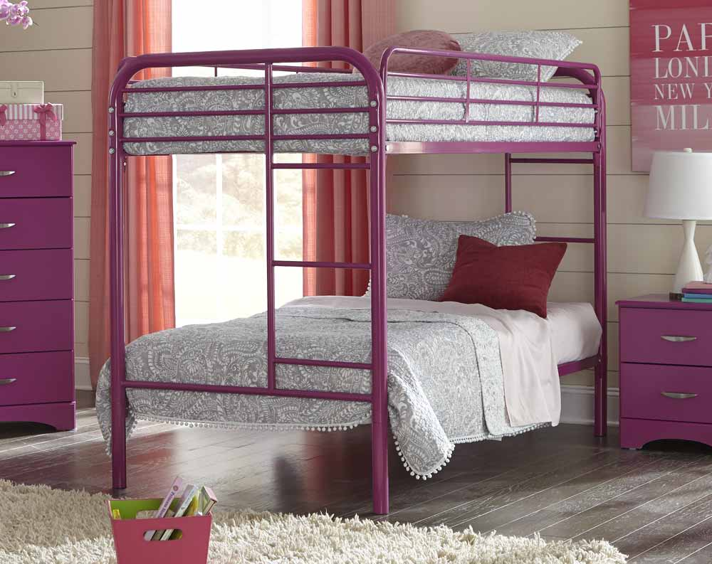 Twin/Twin Raspberry Metal Bunkbed