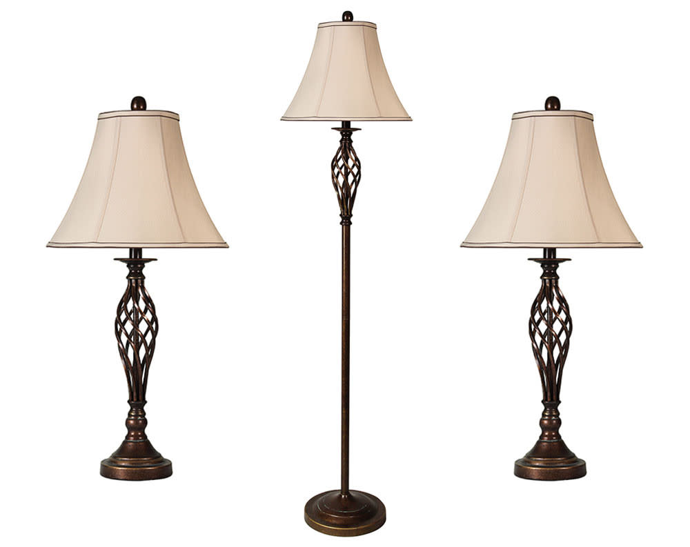 Barclay Brass 3pc Table and Floor Lamp Set