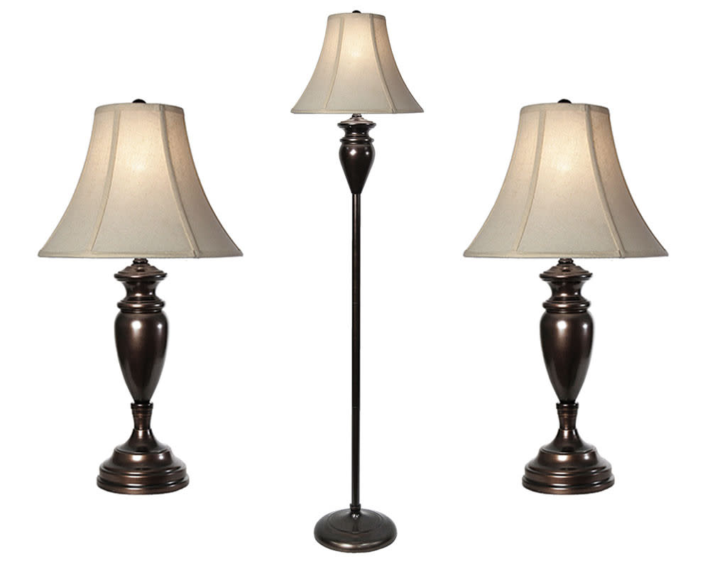 Dunbrook 3pc Steel Table and Floor Lamp Set