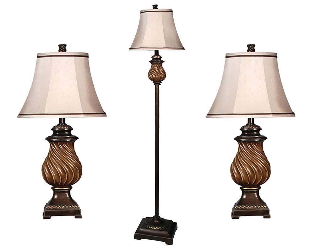 Toffee Wood 3pc Table and Floor Lamp Set