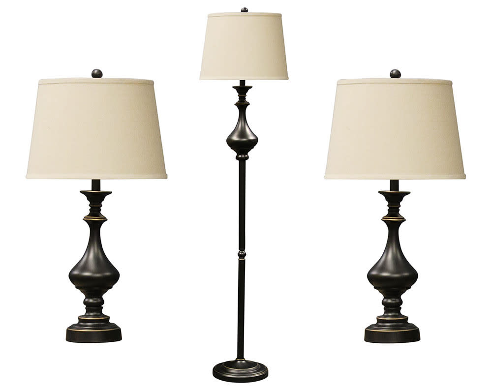 Madison 3pc Bronze Finish Metal Table and Floor Lamp Set